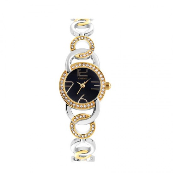 Authentic Black Dial Steel Stripes Bracelet Ladies Watch-Black image