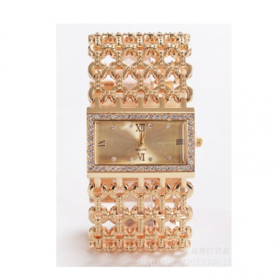Diamond Slim Square Mesh Gold Bracelet Fashion Watch-Gold image