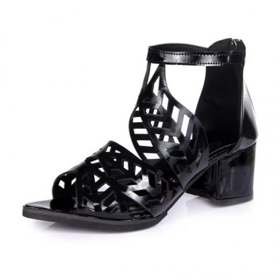 Thick High Heeled Flower Style Women Hollow Sandals-Black image