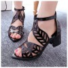 Thick High Heeled Flower Style Women Hollow Black Sandals image