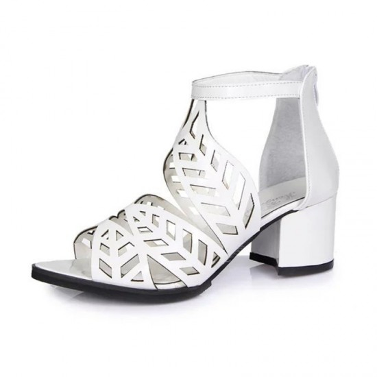 Thick High Heeled Flower Style Women Hollow Sandals-White image