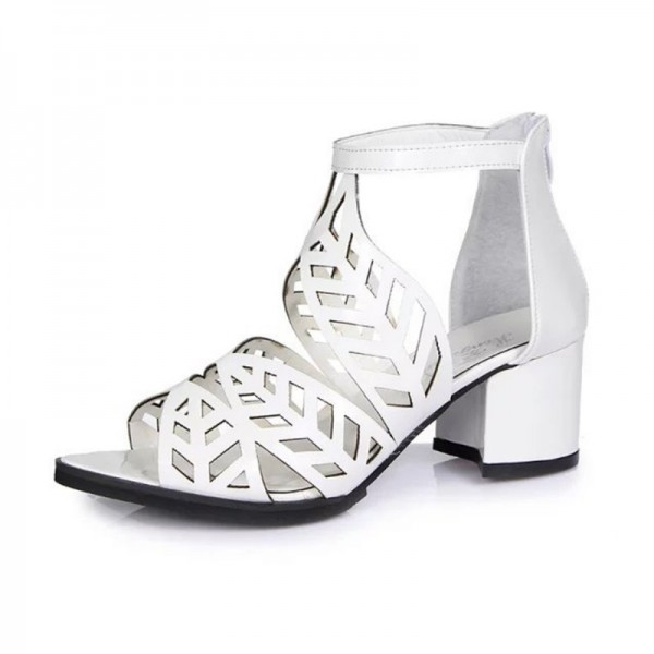 Thick High Heeled Flower Style Women Hollow White Sandals image