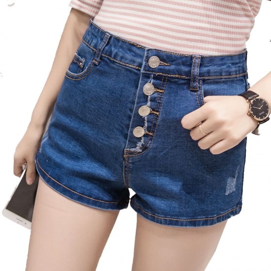 Latest version of the large size high waist row of denim shorts-Blue image