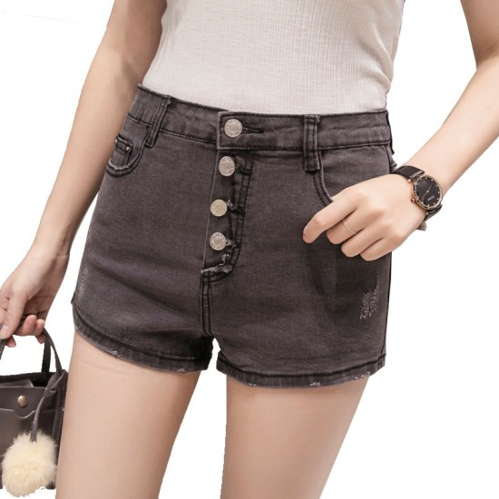 Latest version of the large size high waist row of denim shorts-Grey image