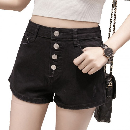 Latest version of the large size high waist row of denim shorts-Black image