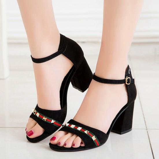 Summer Open Toe Comfortable High Heels Sandals-Black image