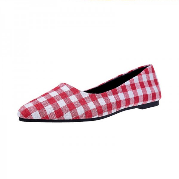 Ladies Summer section Tip Shallow mouth Square Fashion Red Shoes image