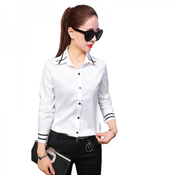 Summer Ribbon Splicing Lapel long Sleeved Slim White Shirt image