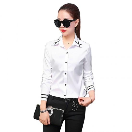 Summer Ribbon Splicing Lapel long Sleeved Slim Shirt-White image