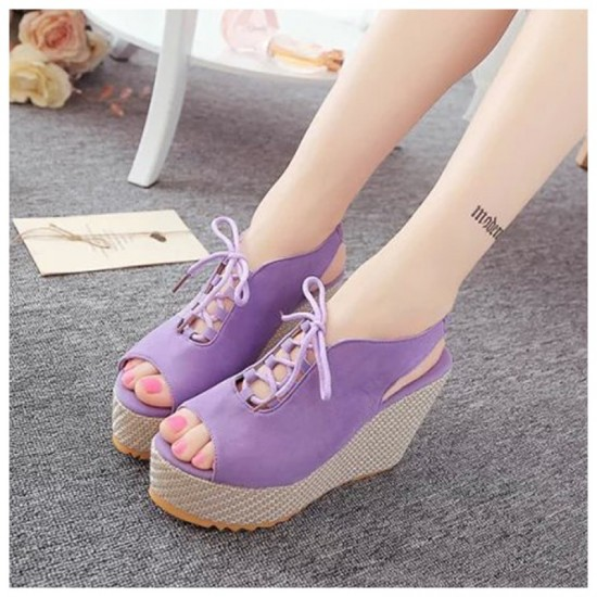 Women Fashion High Heeled Waterproof Wedge Sandal-Purple image