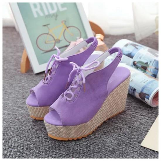 Women Fashion High Heeled Waterproof Wedge Sandal-Purple image