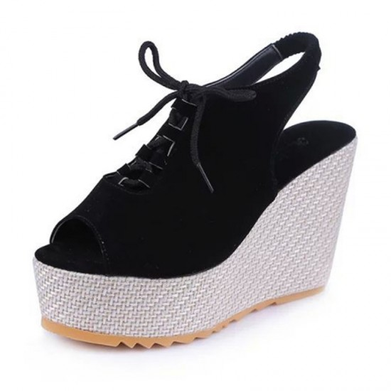 Women Fashion High Heeled Waterproof Wedge Sandal-Black image