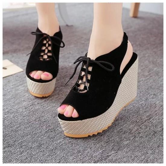 Women Fashion High Heeled Waterproof Wedge Sandal-Black image