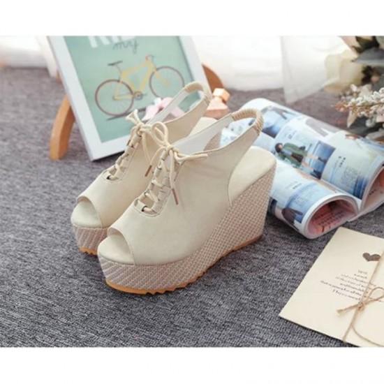Women Fashion High Heeled Waterproof Wedge Sandal-Cream image