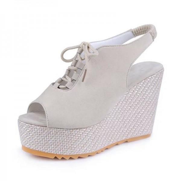 Stylish Women Slope High Heeled Waterproof Wedge Cream Sandal image