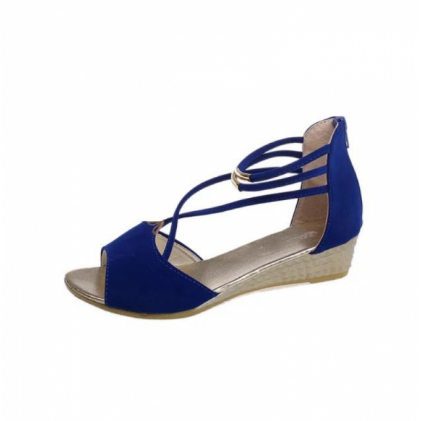 Blue Comfortable Strap Solid Low-heeled Sandals image