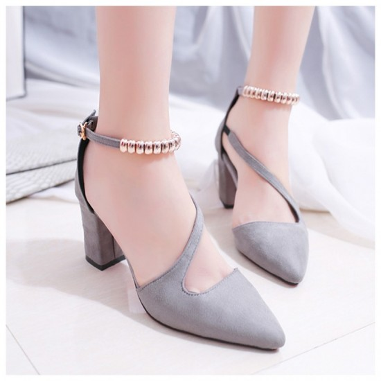 Formal Style Grey High Heeled Beaded Buckle Sandals Shoes image