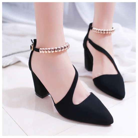 Formal Style Black High Heeled Beaded Buckle Sandals Shoes image