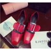 Women Retro Leather Buckle Red Color Sandals Shoes image