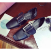 Women Retro Leather Buckle Black Color Sandals Shoes image