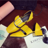 Women Retro Leather Buckle Yellow Color Sandals Shoes image