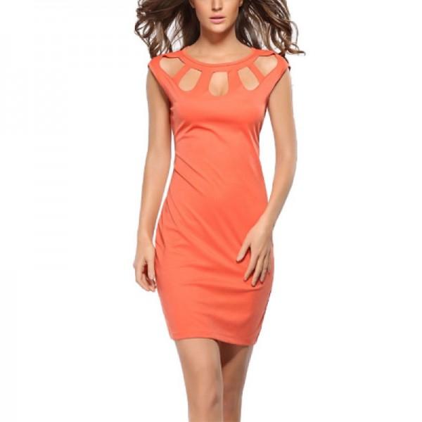 Round Neck Orange Color Solid Pencil Top Dress image