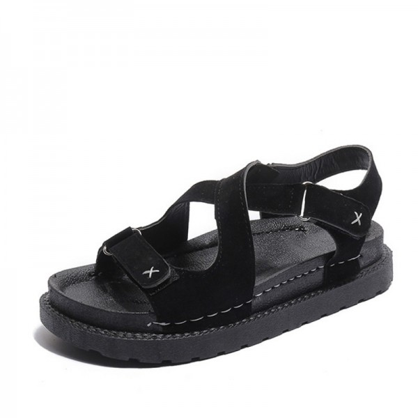 Black Colored Muffin Bottom Cross Strap Sandals image