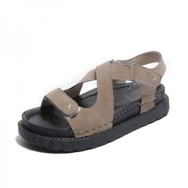 Brown Colored Muffin Bottom Cross Strap Sandals image