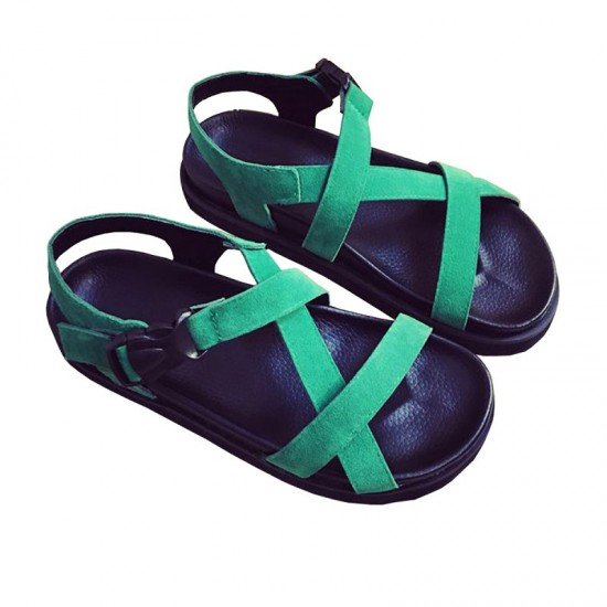 Summer Fashion Light Weight Thick Bottom Muffin Buckle Sandals-Green image