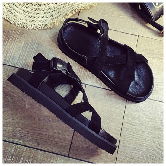 Summer Fashion Light Weight Thick Bottom Muffin Buckle Sandals-Black image