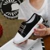 Black Flat Bottom Canvas Sneakers image