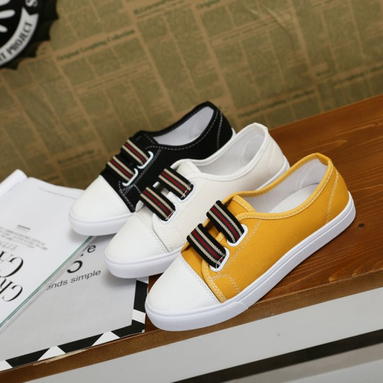 Flat Bottom Canvas Sports Sneakers Shoes-White image