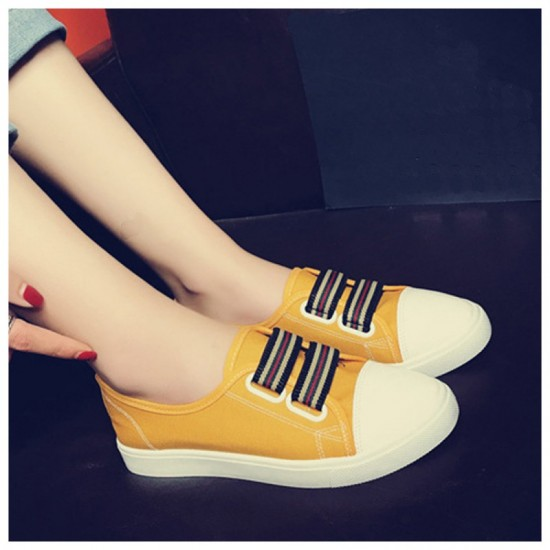 Flat Bottom Canvas Sports Sneakers Shoes-Yellow image