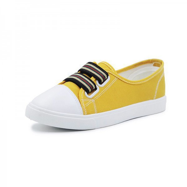 Yellow Black Flat Bottom Canvas Sneakers image