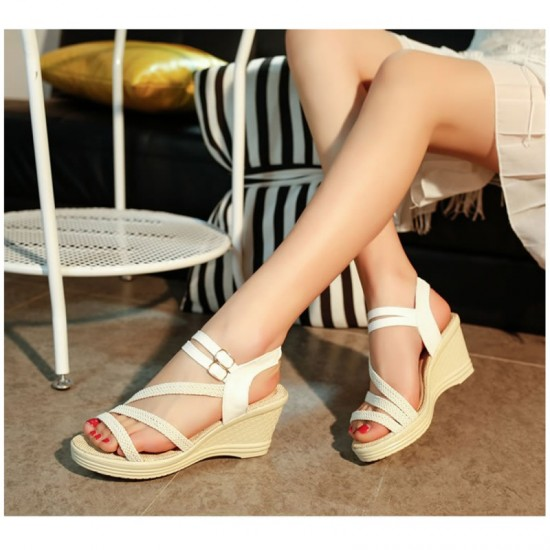 New Open Toe Slope Strap High Wedge Sandal-White image