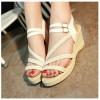 White New Open Toe Slope Strap High Wedge Sandal image