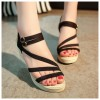 Black New Open Toe Slope Strap High Wedge Sandal image