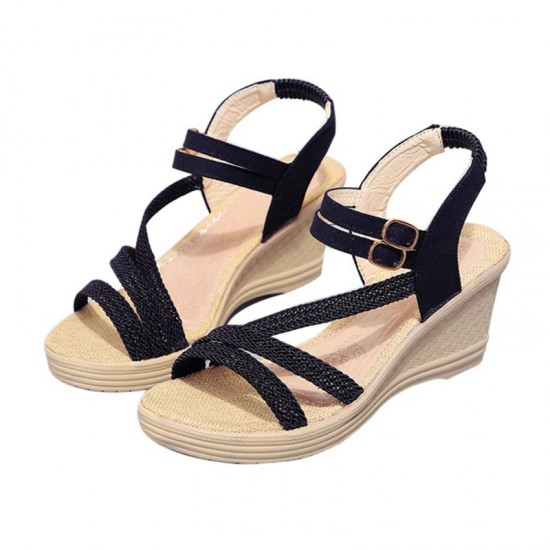 New Open Toe Slope Strap High Wedge Sandal-Black image