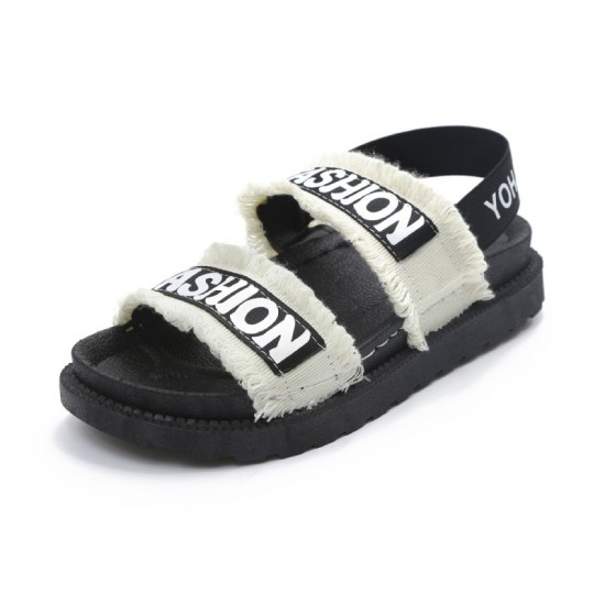 Women Flat Hollow Open Toe Thick Bottom Sandal-White image