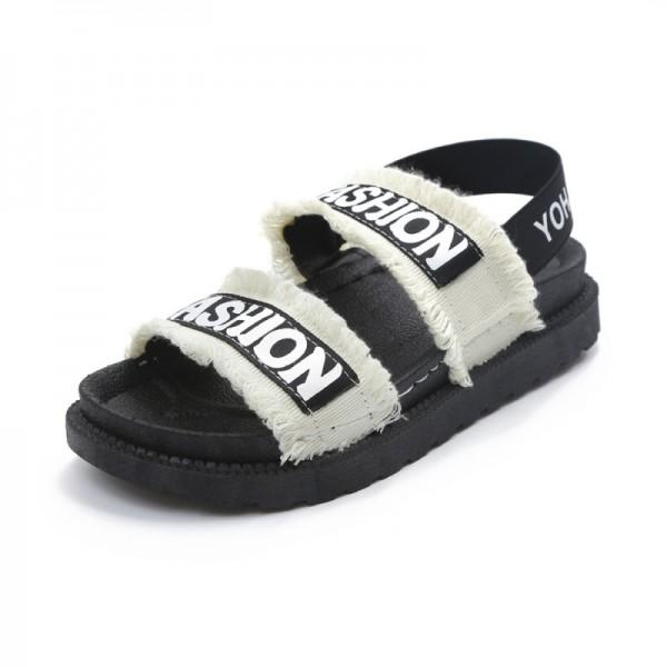White Flat Hollow Open Toe Thick Bottom Sandal image