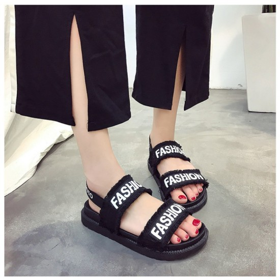 Women Flat Hollow Open Toe Thick Bottom Sandal-Black image