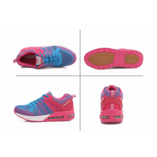 Women Laces Up Rubber Sole Breathable Running , Jogging Sports Shoes-Blue image