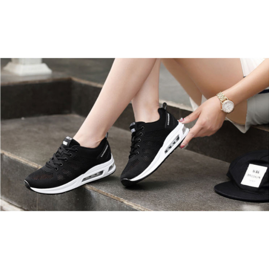 Women Laces Up Rubber Sole Breathable Running , Jogging Sports Shoes-Black image