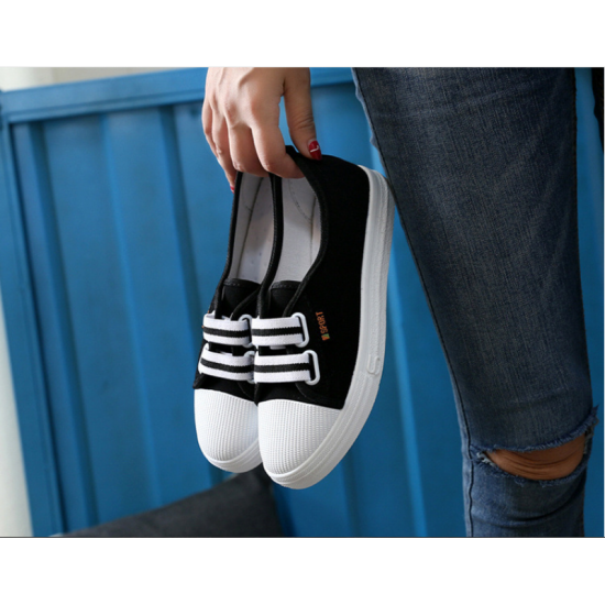 Flat Bottom Canvas Lovely Sneakers Shoes-Black image