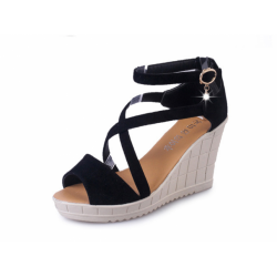 Thick Slope Bottom High Heeled Cross Buckle Wedge Black Sandals