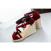Thick Slope Bottom High Heeled Cross Buckle Wedge Red Sandals image