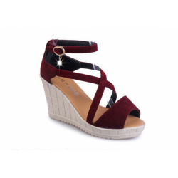 Thick Slope Bottom High Heeled Cross Buckle Wedge Red Sandals