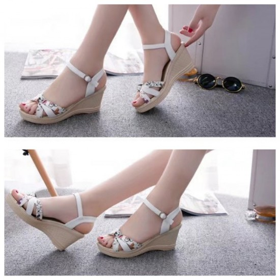Summer Thick-Soled Sweet Floral Printing Buckle Sandals-White image