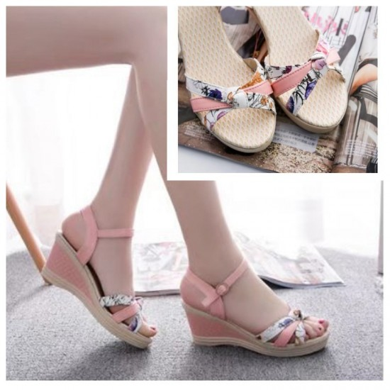 Summer Thick-Soled Sweet Floral Printing Buckle Sandals-Pink image