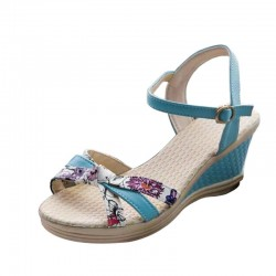 Women Summer Thick-Soled High-Heeled Sweet Printing Blue Buckle Sandals